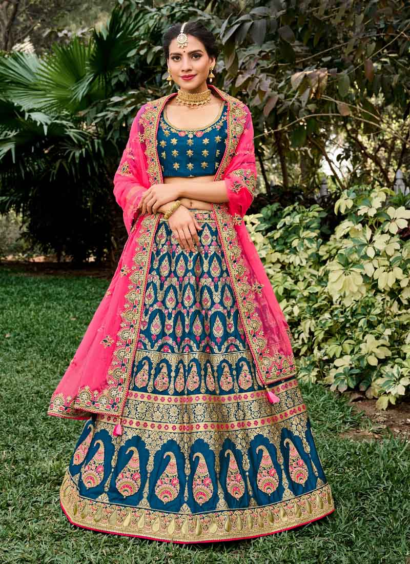 Indian Traditional Embroidery Lehenga Choli In Blue
