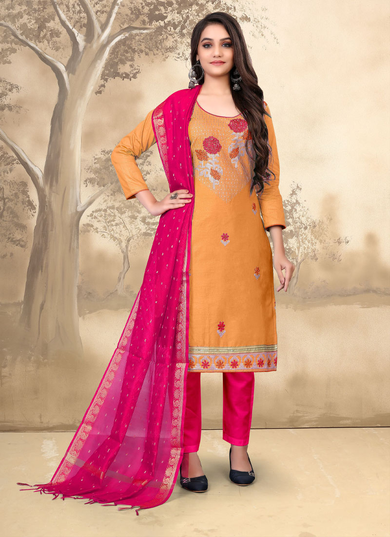 Indian Traditional Embroidery Work Salwar Suit In Mustard