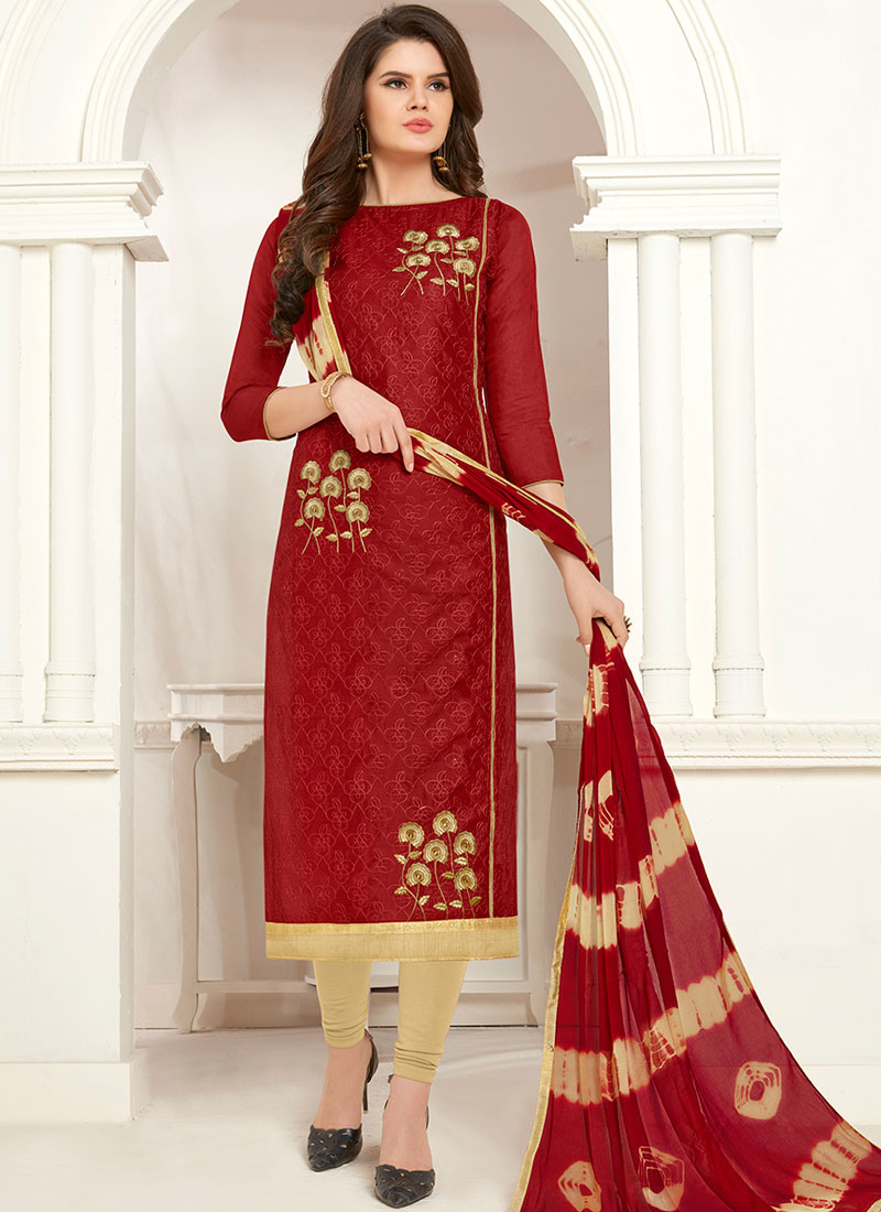 40a6c863ef Innovative Cotton Embroidered Churidar Salwar Suit. Hover to zoom