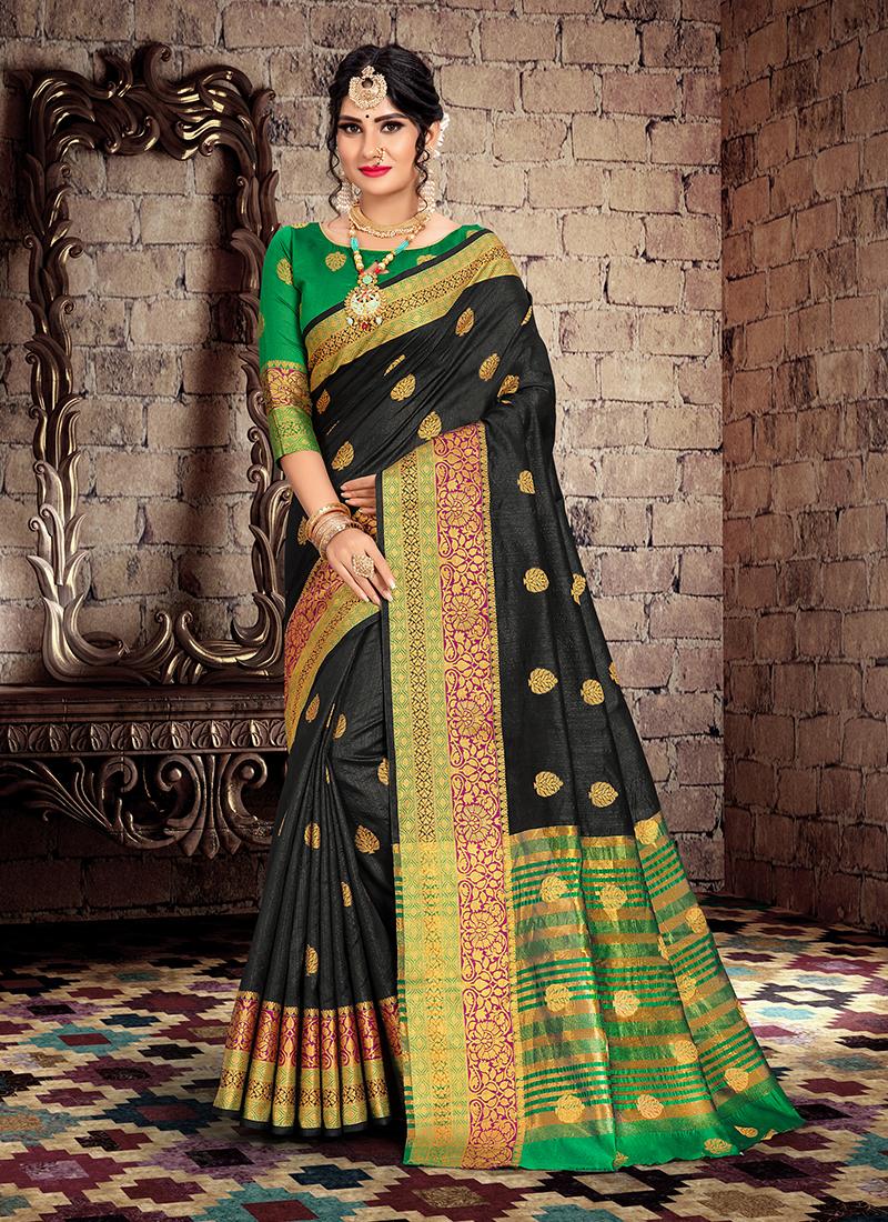 Innovative Weaving Cotton Silk Black Traditional Saree