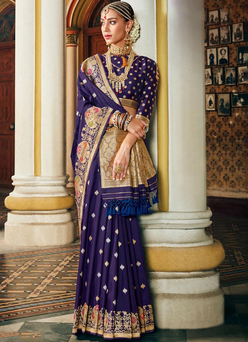 Banarasi Silk blue designer Saree with blouse