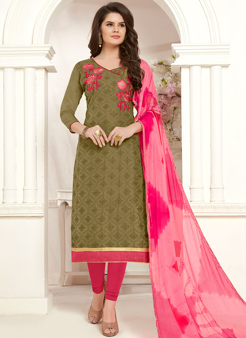 e15c81b888 Intricate Embroidered Cotton Churidar Salwar Suit. Hover to zoom