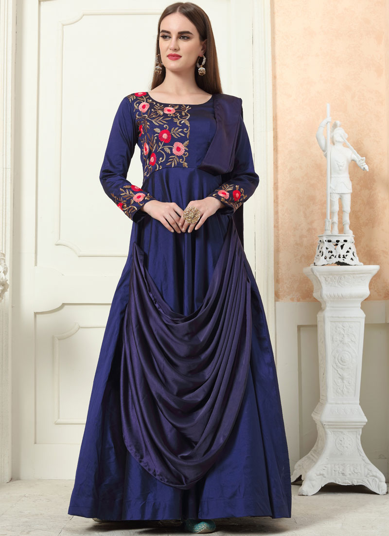 Intricate Navy Blue Festival Trendy Gown