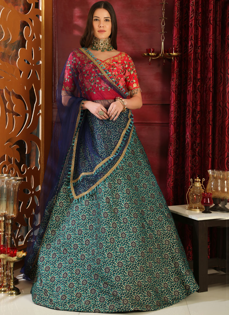 Intriguing Lace Multi Colour Jacquard Lehenga Choli
