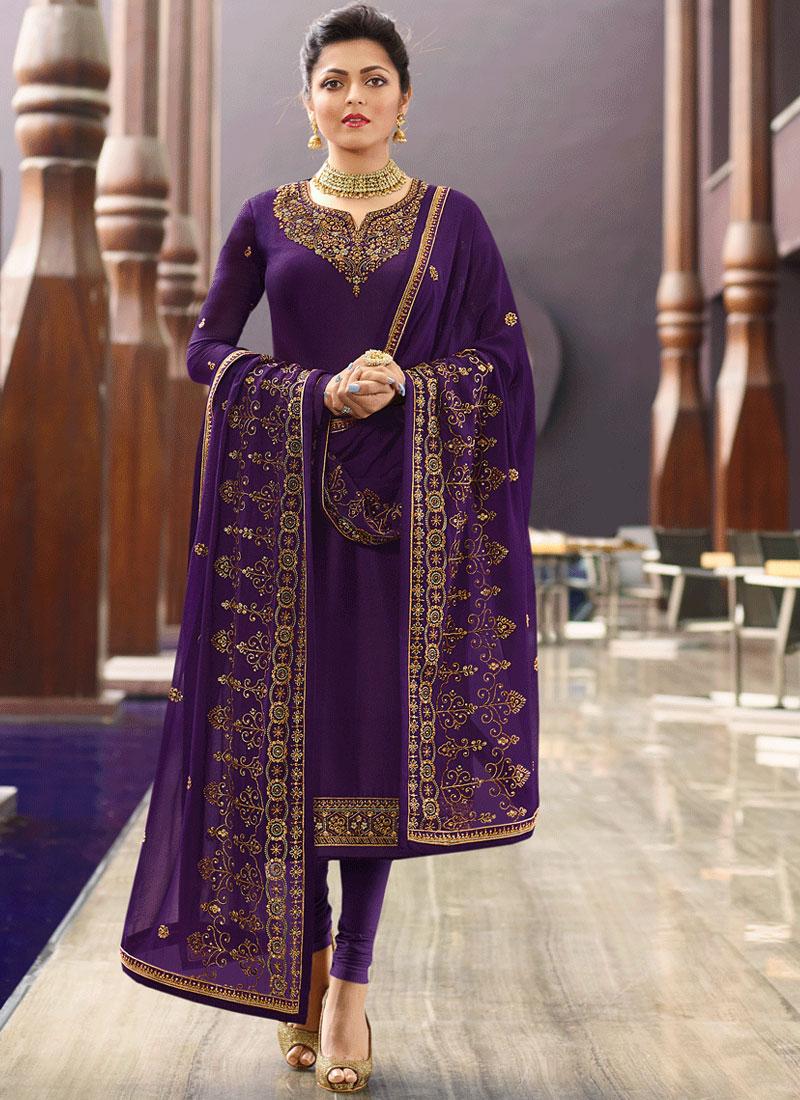 Intrinsic Purple Embroidered Georgette Satin Churidar Designer Suit