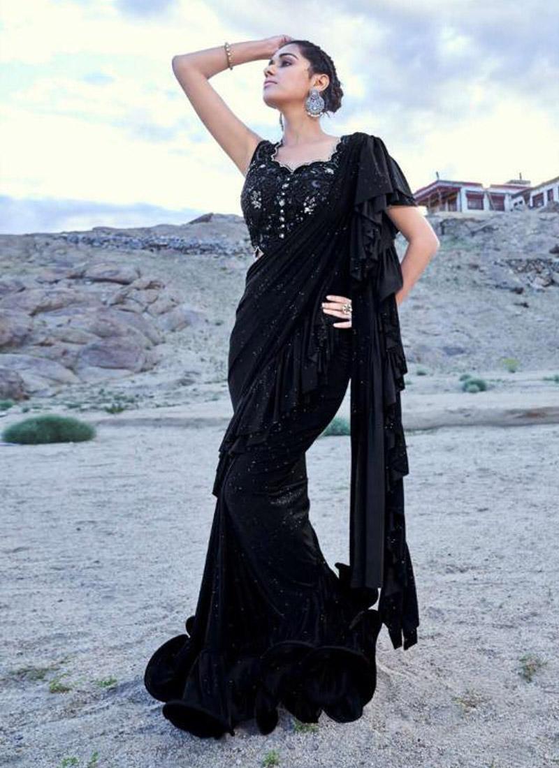 Irresistible Embroidered Black Fancy Fabric Classic Designer Saree