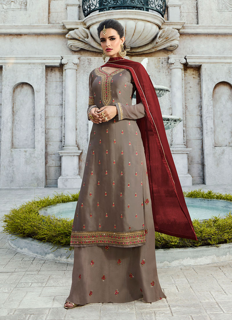 Embroidered Grey Georgette Satin Designer Palazzo Salwar Kameez