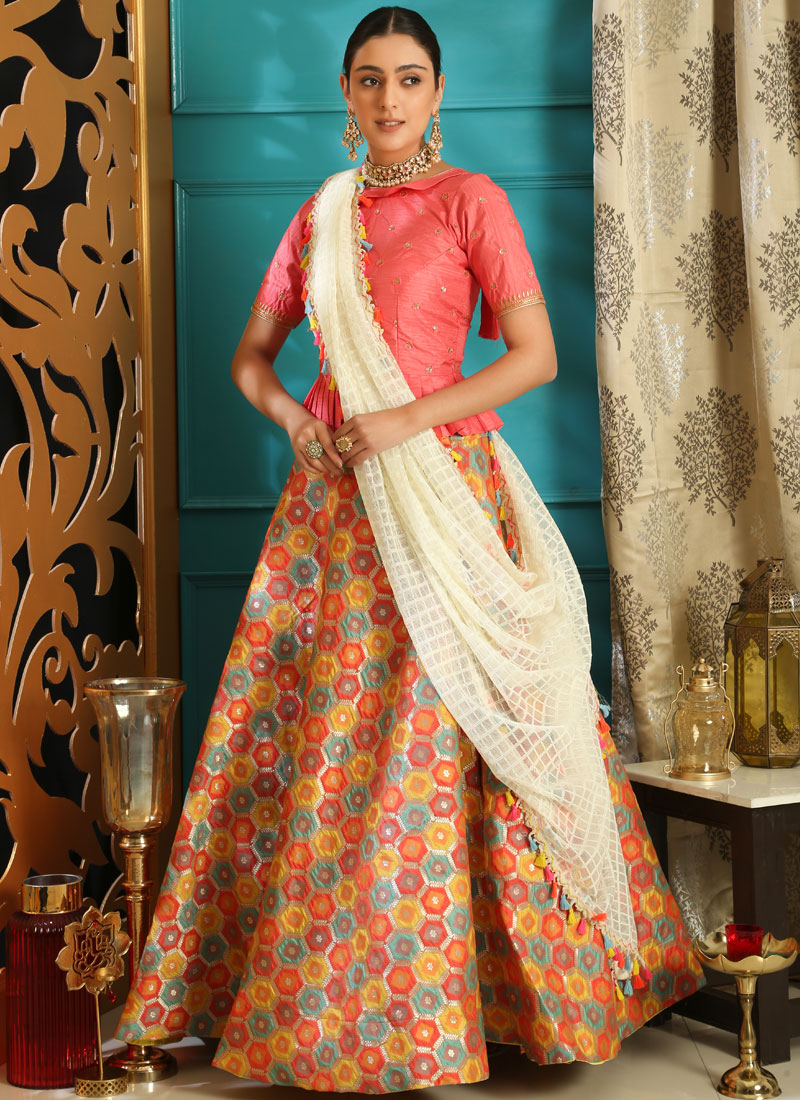 Jacquard Pink Embroidered Lehenga Choli