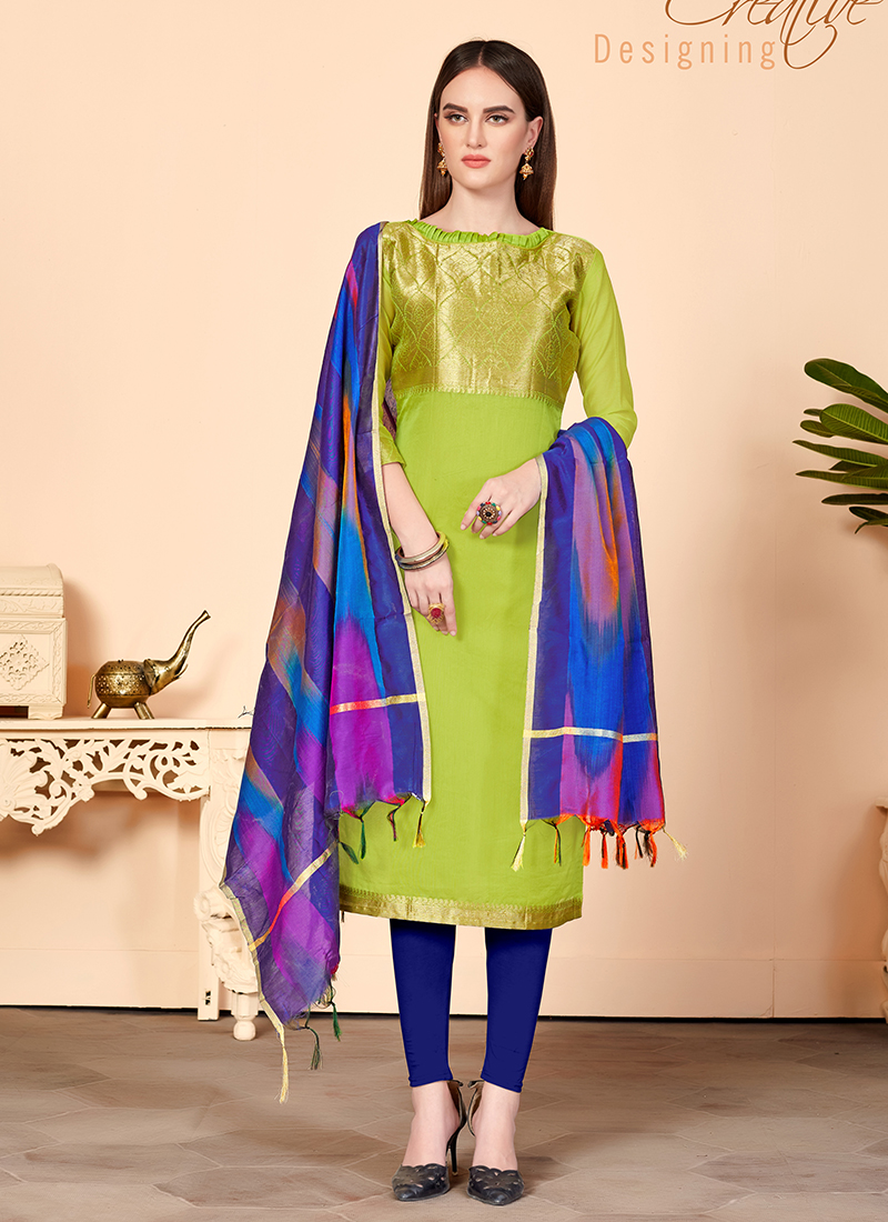 Jacquard Silk Abstract Print Churidar Suit in Green