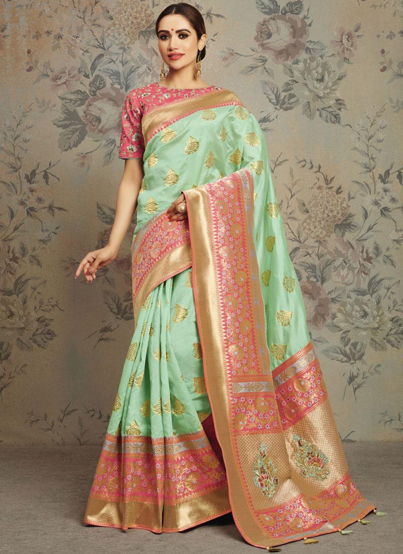 Jacquard Silk Green Cord Classic Saree