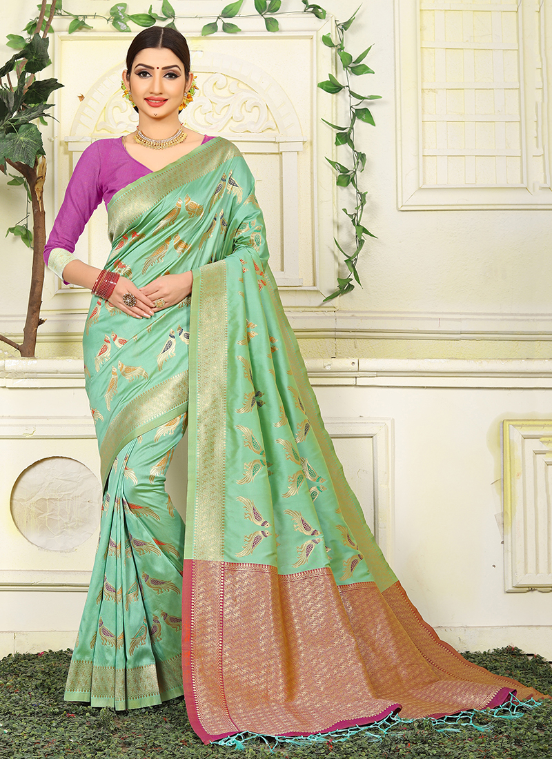 ada4c6e3c5 Jacquard Silk Green Weaving Traditional Saree. Hover to zoom