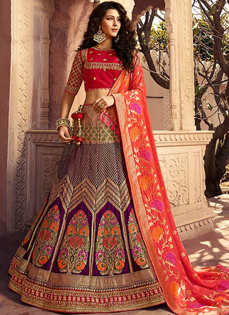 f65e04ff4b Jacquard Silk Multi Colour Stone Designer Lehenga Choli. Hover to zoom