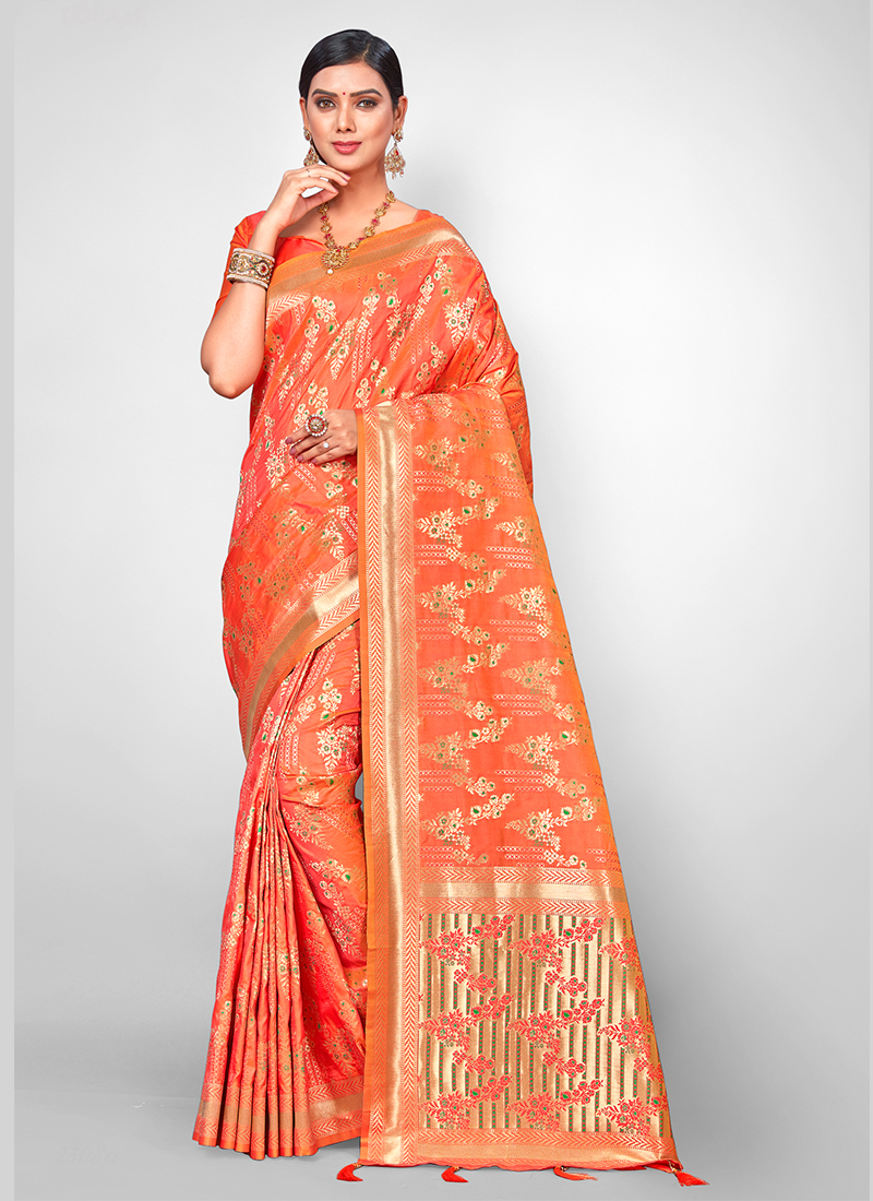 Jacquard Silk Orange Weaving Traditional Designer Saree
