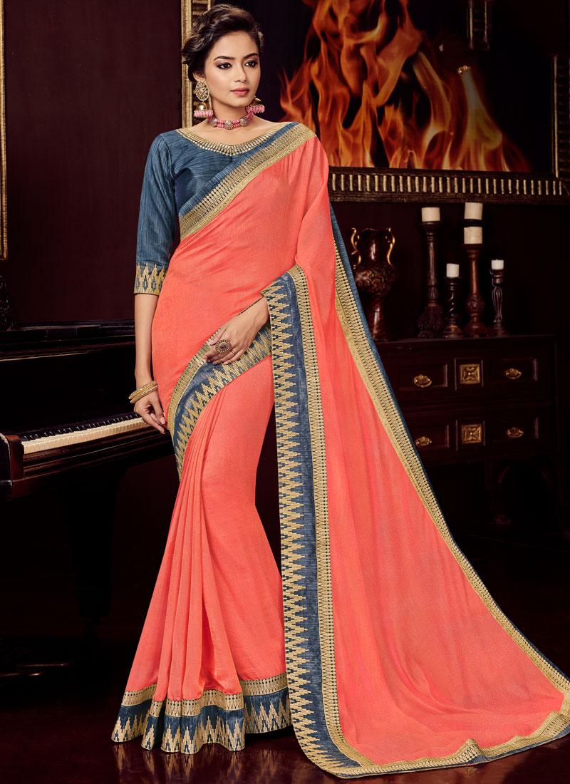 Jazzy Art Silk Peach Traditional Designer Saree