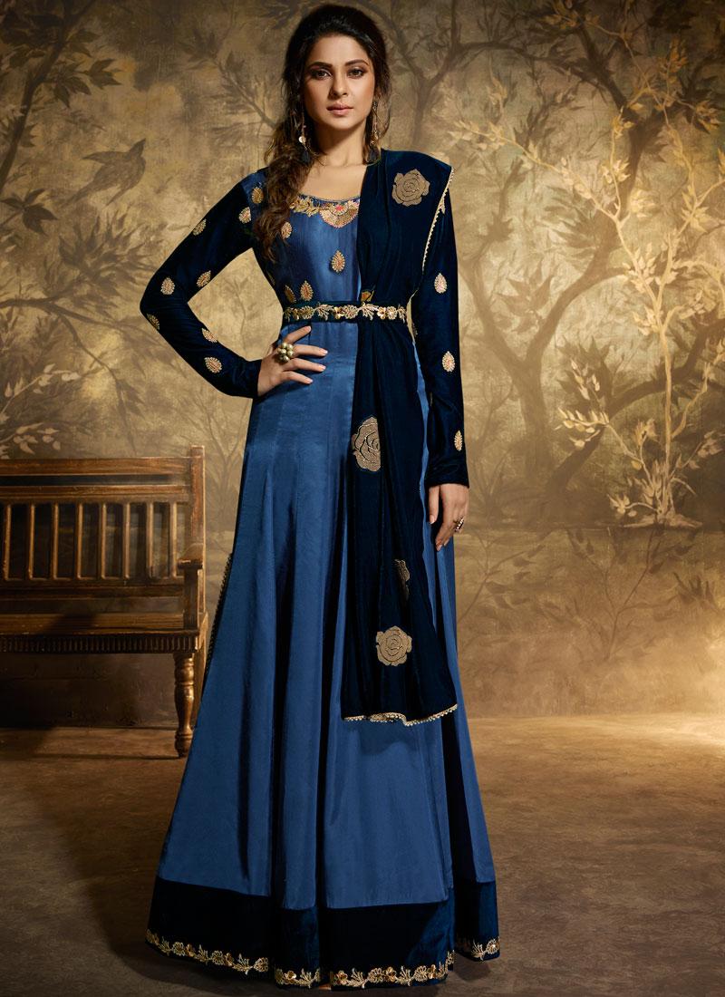 534201e5a8 Sale. Jennifer Winget Blue Floor Length Anarkali Suit. Hover to zoom