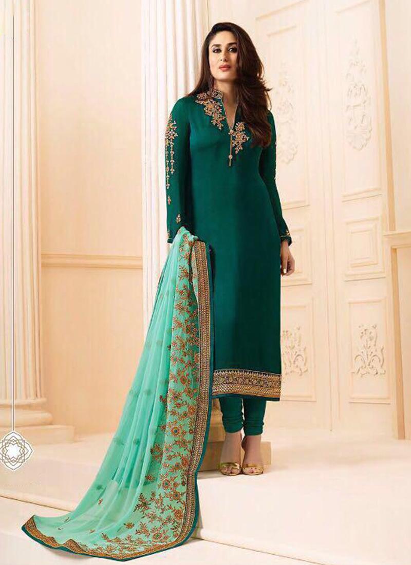 Kareena Kapoor Aesthetic Green Churidar Salwar Kameez