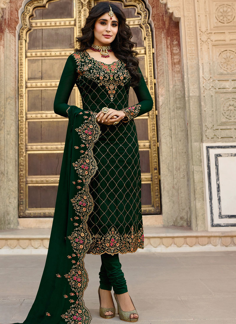 Kritika Kamra Georgette Green Embroidered salwar kameez