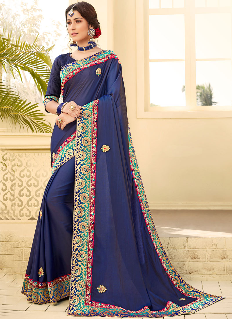 Latest Embroidered Satin Silk Traditional Saree