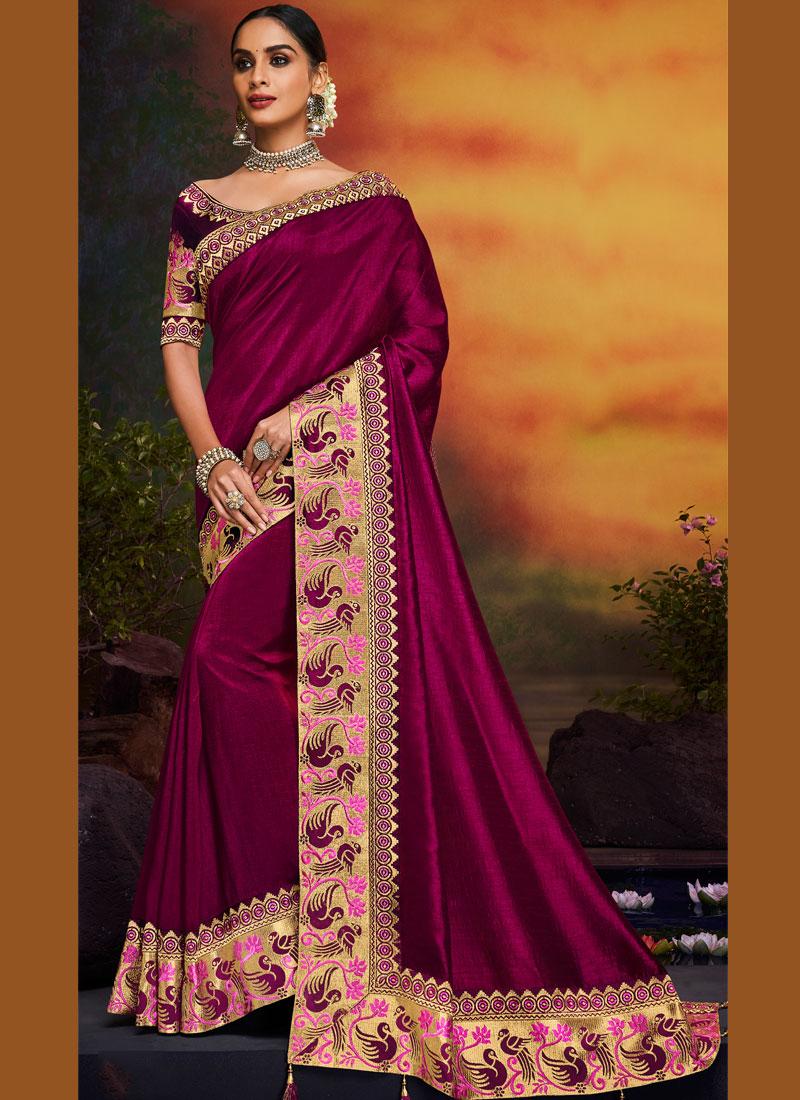 Latest Magenta Art Silk Designer Traditional Saree