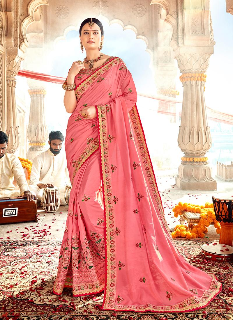 Latest Pink Festival Designer Traditional Saree