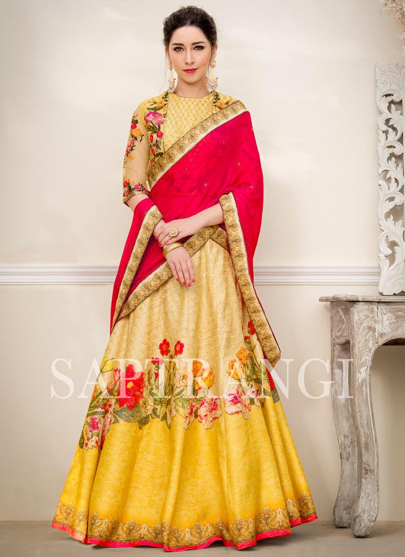 Lehenga Choli Embroidered Fancy Fabric in Multi Colour