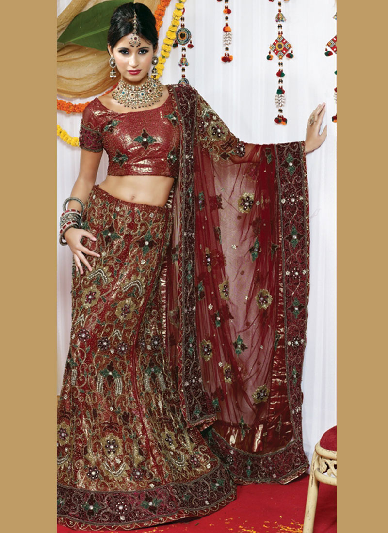 Zardosi work Lehenga Choli Fancy Net in Maroon