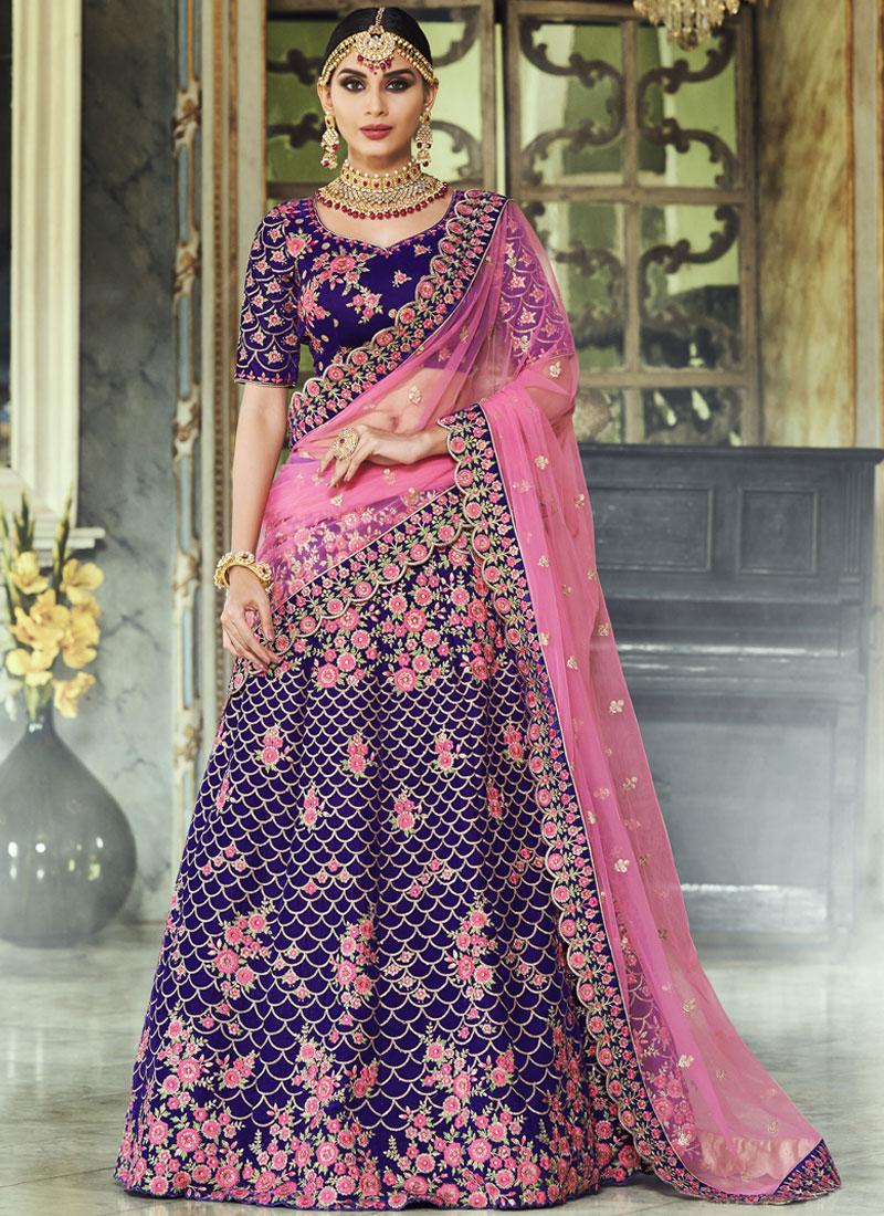 Lehenga Choli Lace Velvet in Purple