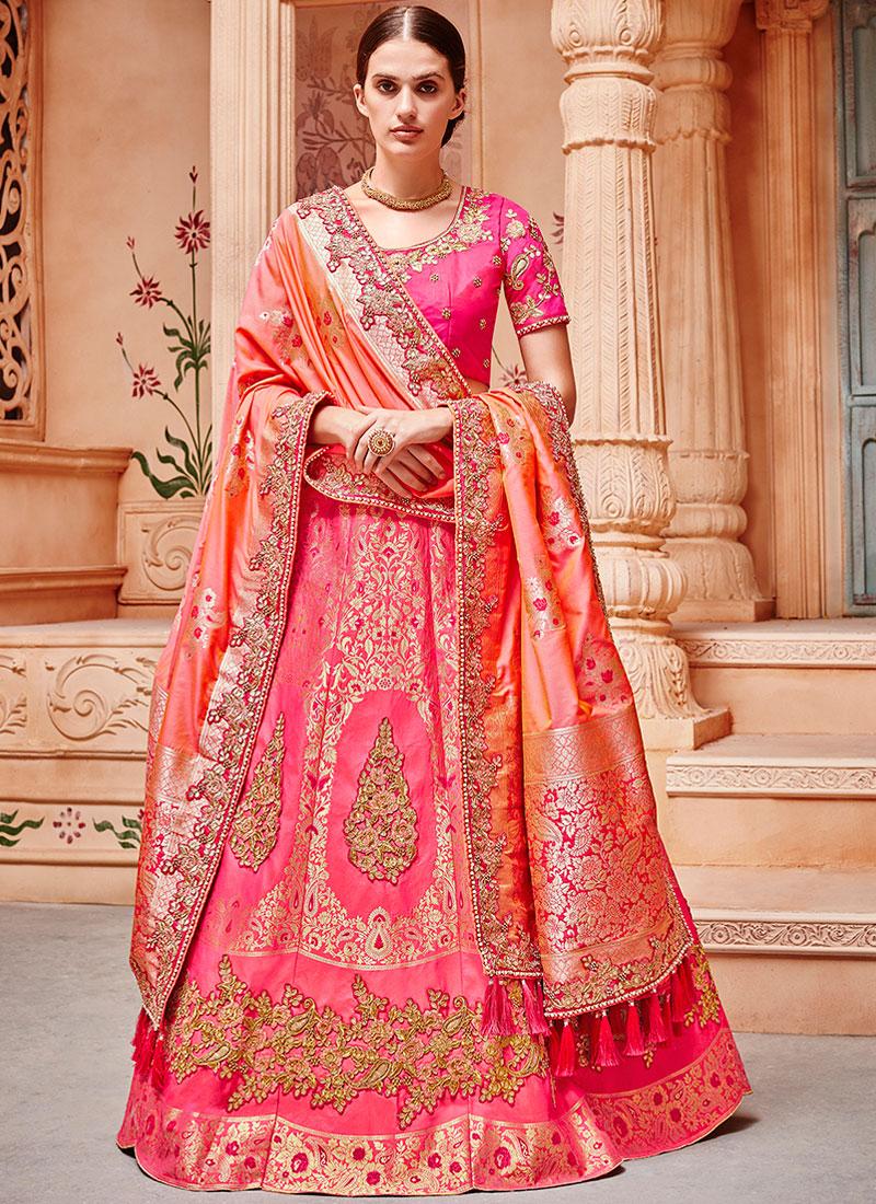 Lehenga Choli Patch Border Jacquard Silk in Hot Pink