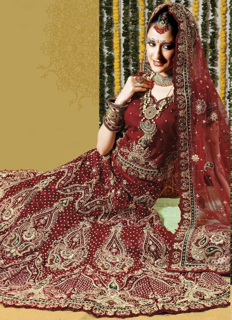 Heavy Hand embroidered designer maroon bridal Lehenga Choli