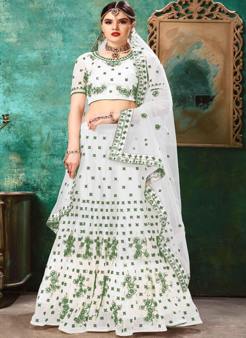Lehenga Choli Resham Net in Green and White