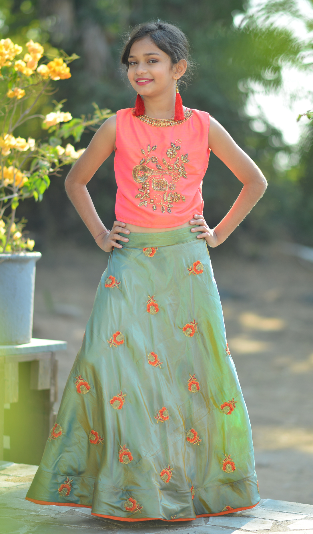 Light Pink And Two Tone Grey Color Kids Wear Lehenga With Crop Top