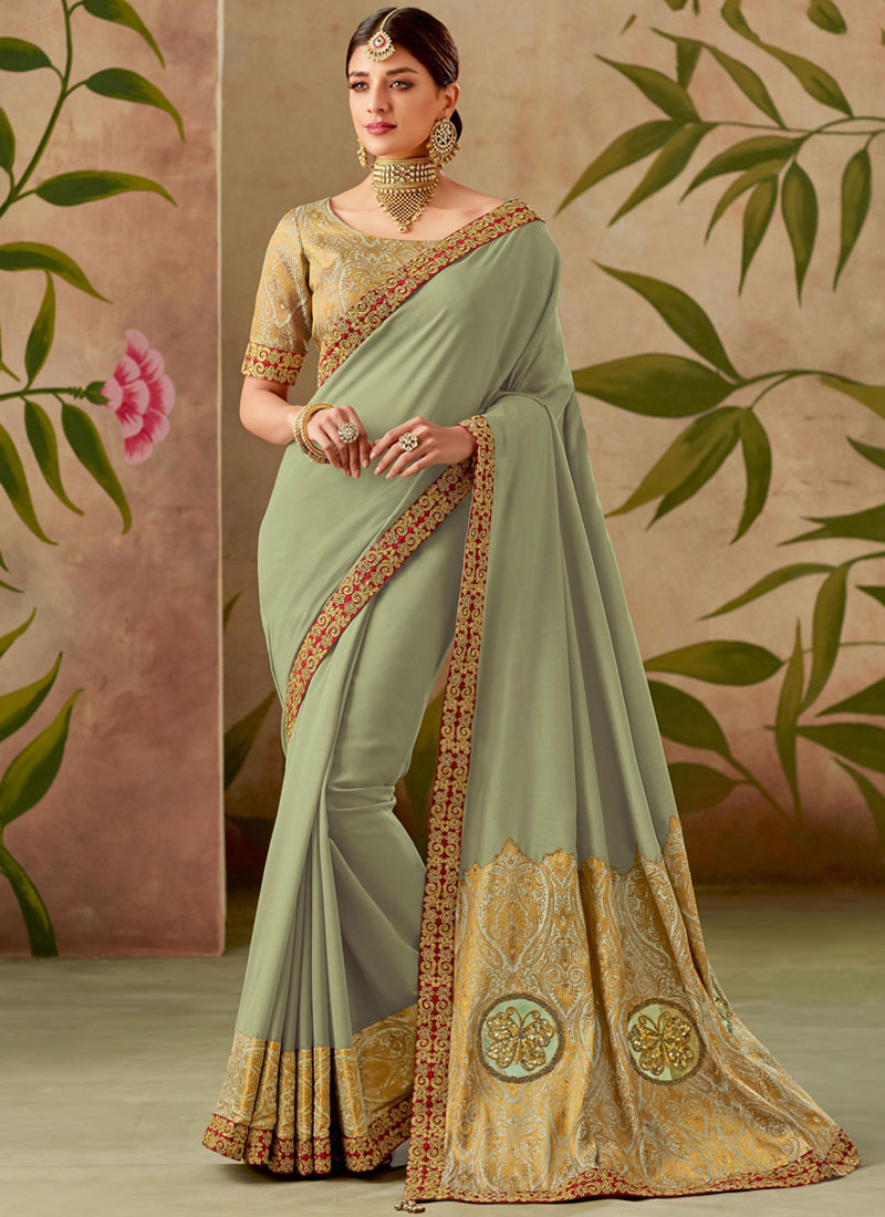 Lively Green Patch Border Art Silk Traditional Saree