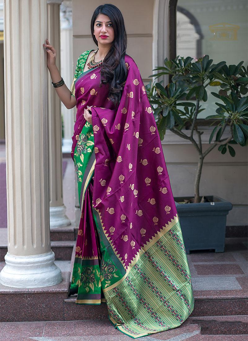 Lovable Art Silk Weaving Purple Traditional Designer Saree