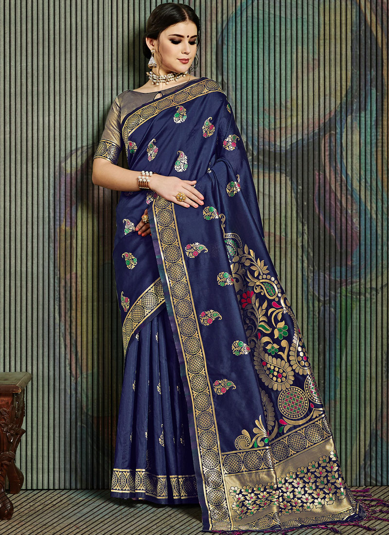 Lovable Blue Ceremonial Traditional Designer Saree