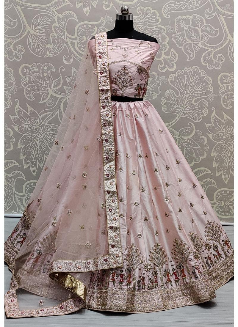 Lovely Baby Pink Sober and Embroidery Work Wedding Wear Lehenga Choli