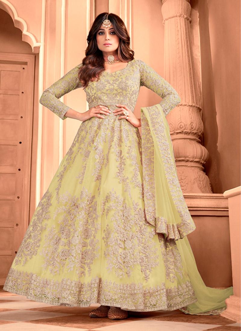 Lovely Beige Butterfly Net Designer Gown With Dupatta