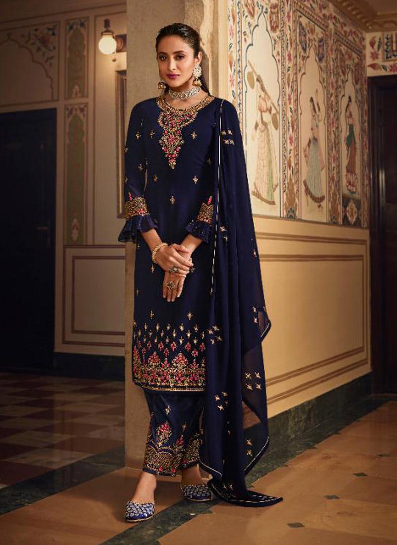 Lovely Thread Work Designer Salwar Suit In Navy Blue
