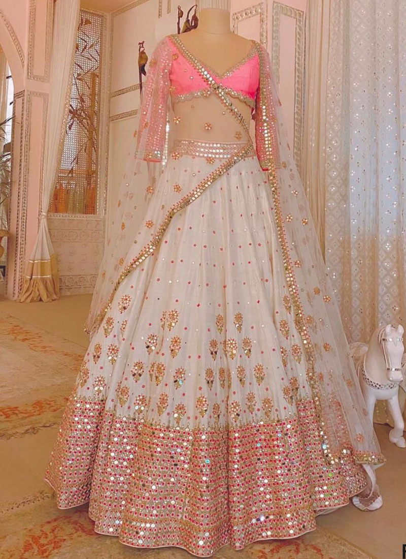Luxurious Mulberry Silk Lehenga With Paper Mirror Work In White & Pink