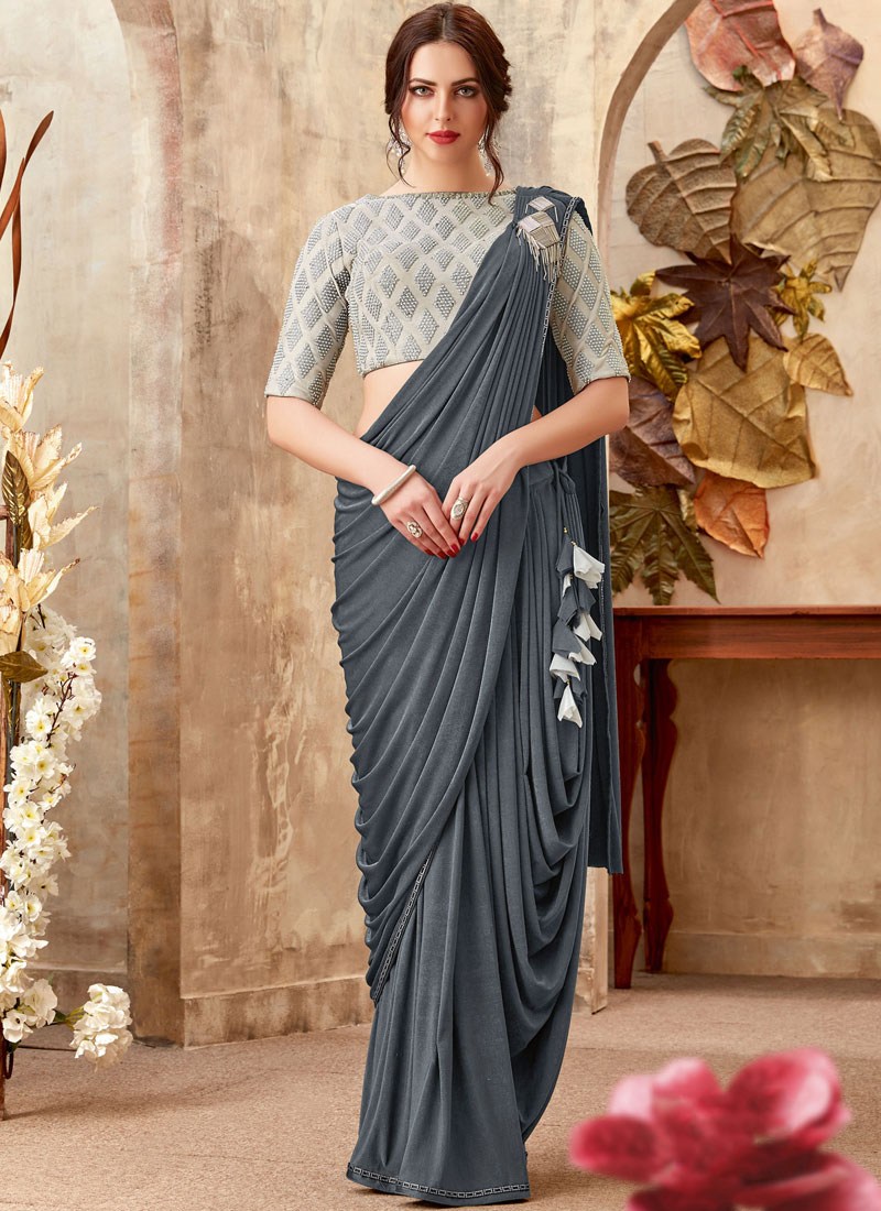 Lycra Grey Embroidered Trendy Saree