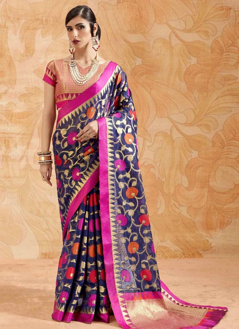 Magenta and Navy Blue Handloom silk Classic Saree