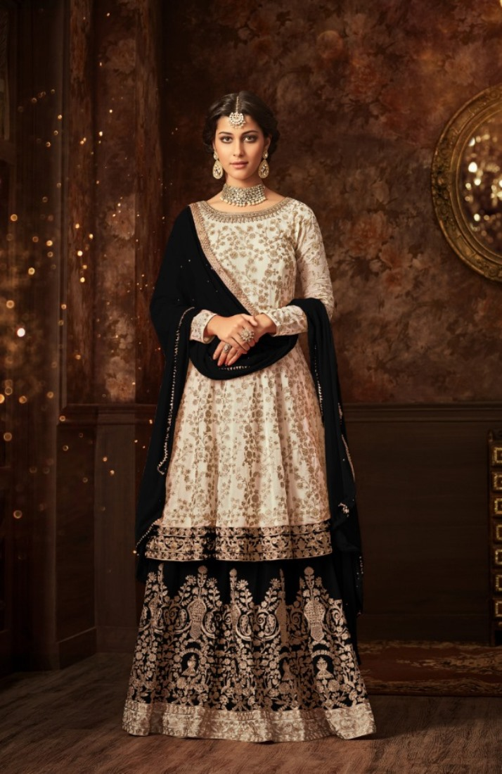 maisha silk white bkack sharara suit