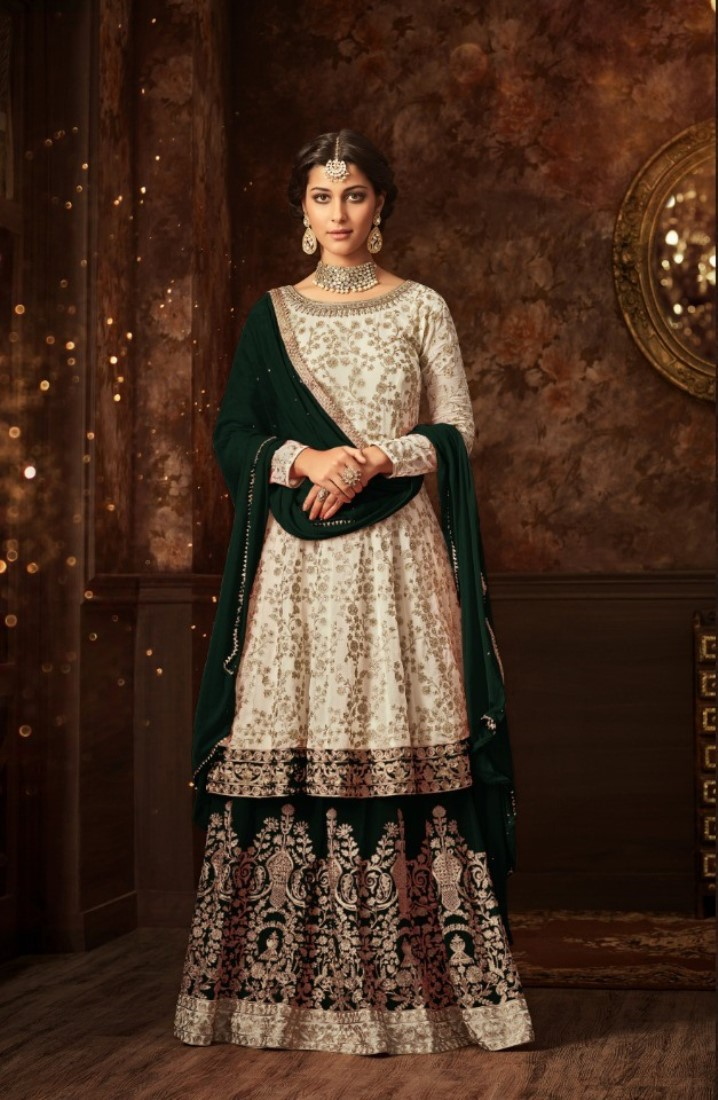 maisha silk white & green sharara suit