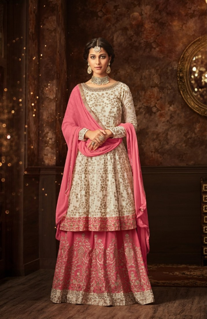 maisha silk white pink sharara suit