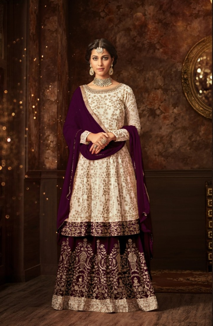 maisha silk white purple sharara suit