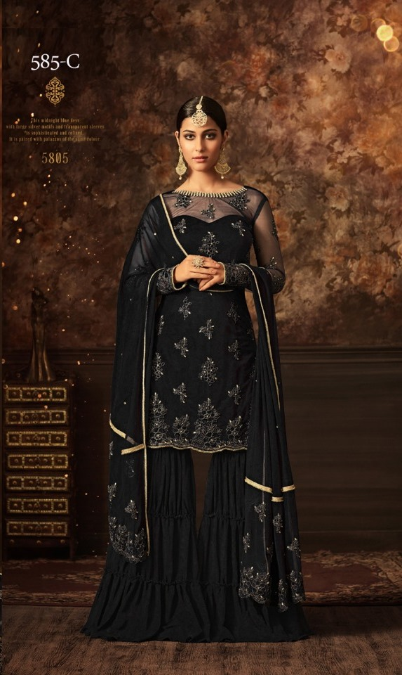 maisha softnet black sharara suit