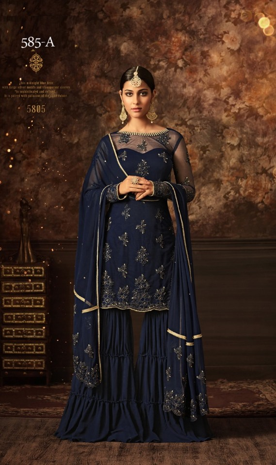 maisha softnet blue sharara suit
