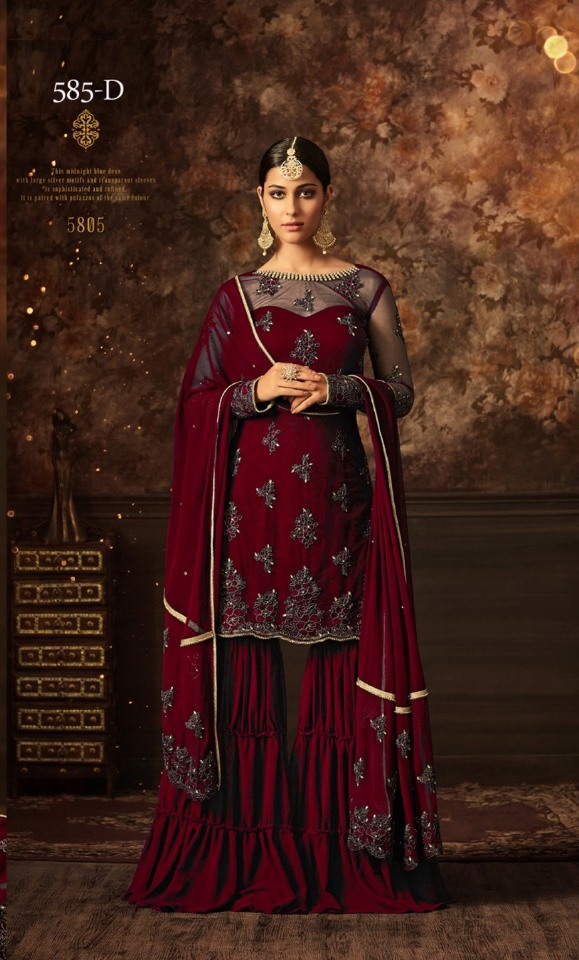 maisha softnet maroon sharara suit