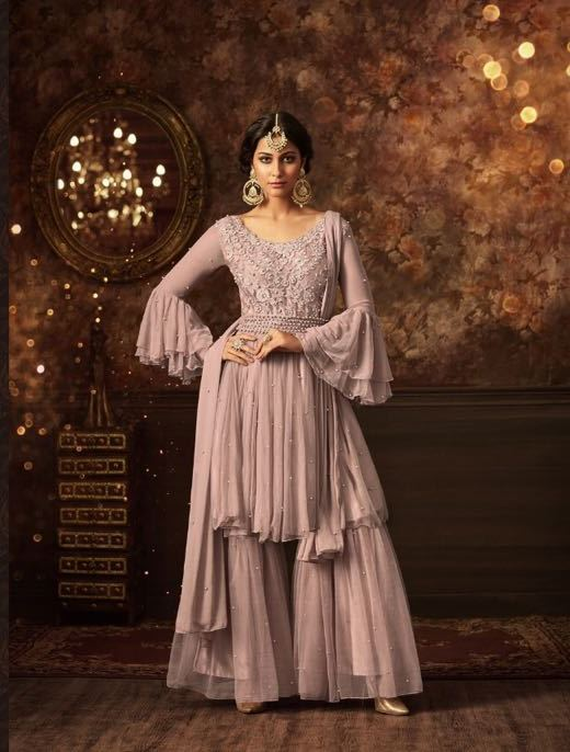 maisha softnet pormogranate grey salwar suit