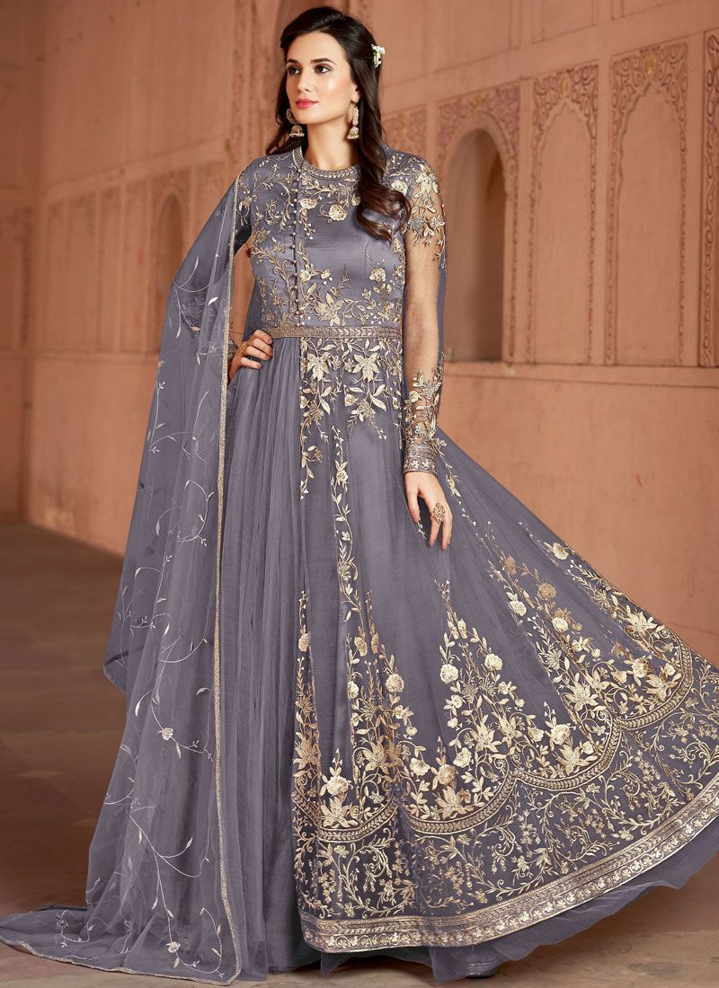 Majestic Embroidered Net Grey Designer Salwar Suit