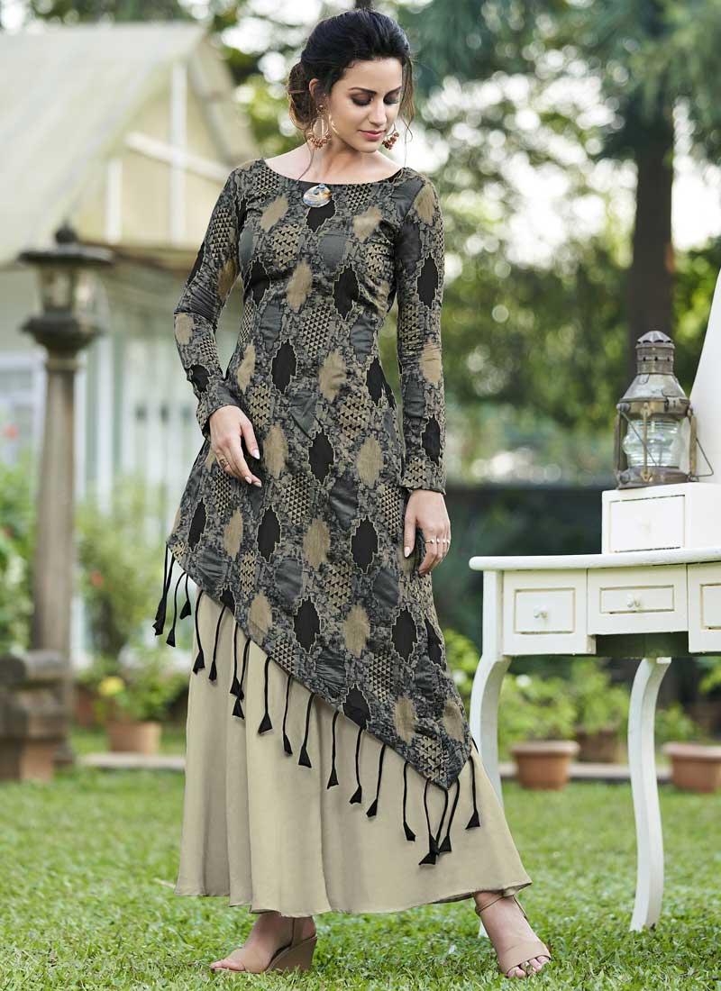 Majestic Jacquard Silk Multi Colour Print Designer Gown